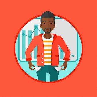 Illustration vectorielle de faillite homme d'affaires.