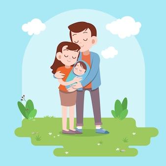 Illustration vectorielle famille heureuse