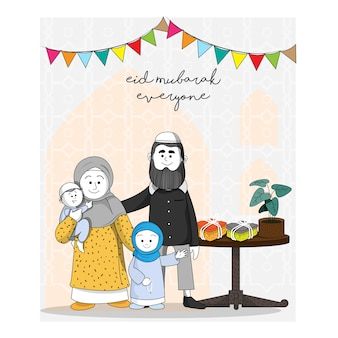 Illustration vectorielle de la famille musulmane souhaitant eid mubarak à tout le monde