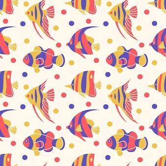 Illustration vectorielle de la faune sous-marine tropicale transparente motif