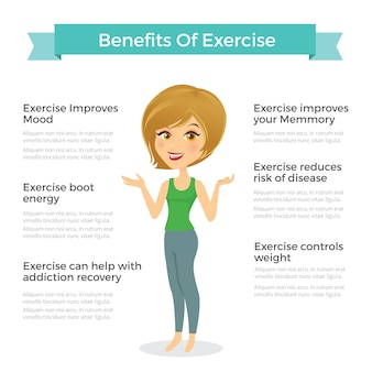 Illustration vectorielle femme. avantages l'infographie des exercices. objets de santé humaine.