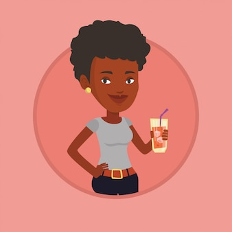 Illustration vectorielle de femme buvant cocktail.