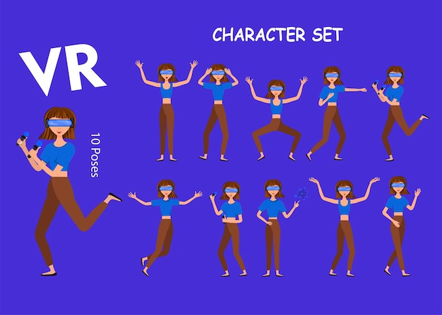 Illustration vectorielle de femme dans un casque de réalité virtuelle avec contrôleur de mouvement. casque vr. jeu de personnes réalistes de dessin animé. jeune homme plat.