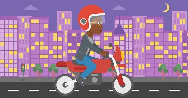 Illustration vectorielle de femme équitation moto.