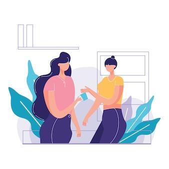 Illustration vectorielle de femme etnic office employees coffee break