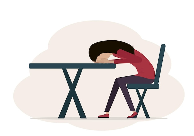 Illustration vectorielle d'une femme fatiguée et déprimée. la femme s'assied sur une chaise et sa tête se trouve sur la table