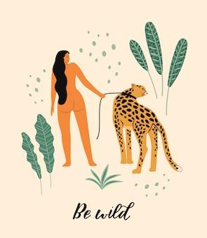 Illustration vectorielle de femme avec léopard.