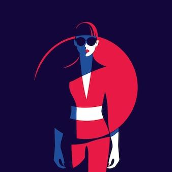 Illustration vectorielle d'une femme vêtue d'une robe dans un style branché regardant de face