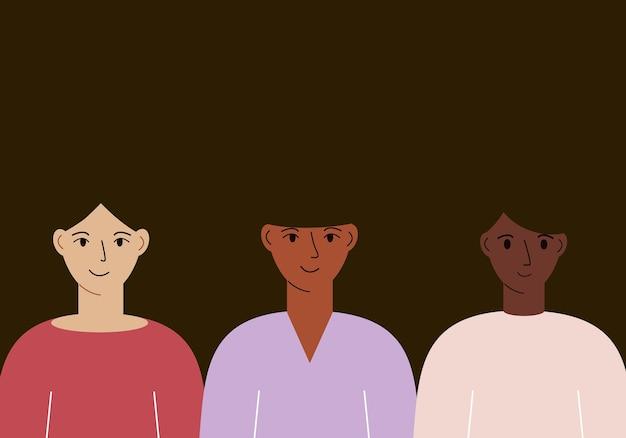 Illustration vectorielle de femmes avec une couleur de peau différente