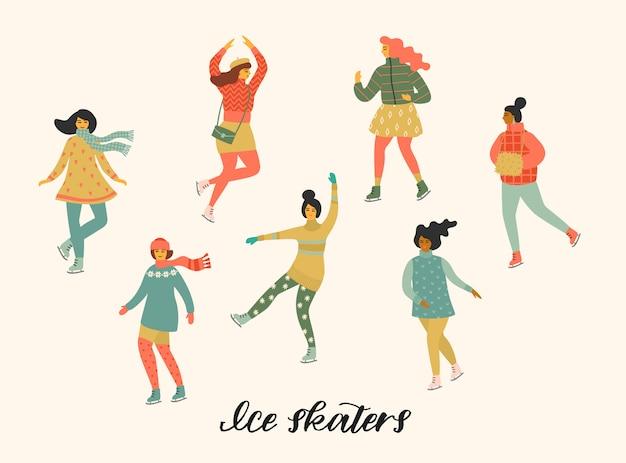 Illustration vectorielle de femmes skate.