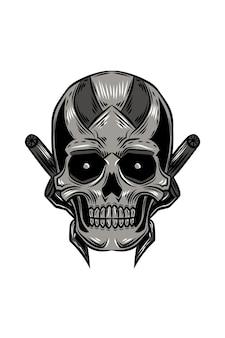 Illustration vectorielle de fer crâne