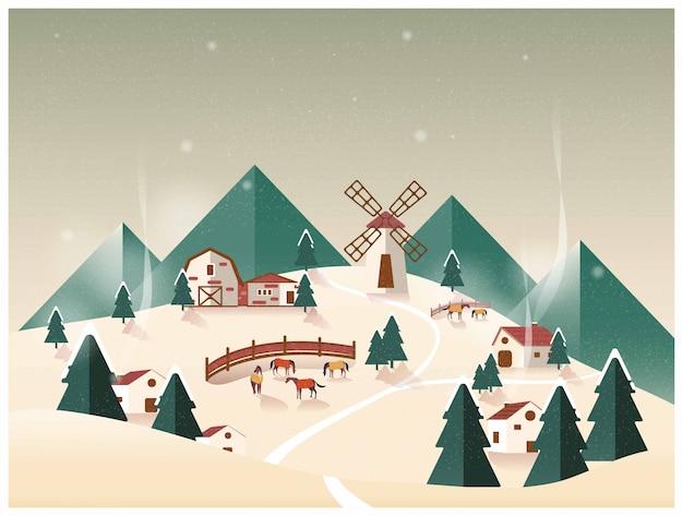 Illustration vectorielle de la ferme biologique de la campagne. ranch de chevaux en hiver.