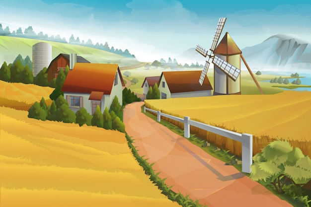 Illustration vectorielle de ferme paysage rural