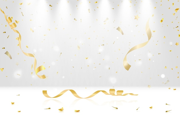Illustration vectorielle festive avec des confettis tombant dorés avec flou isolé sur backgroun transparent