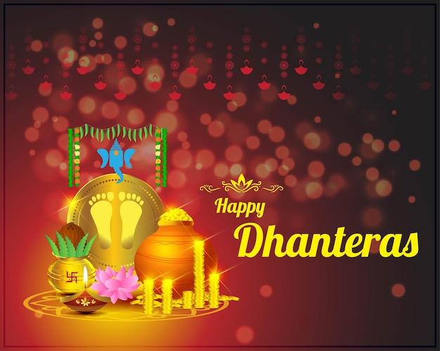 Illustration vectorielle de la fête hindoue indienne happy dhantera