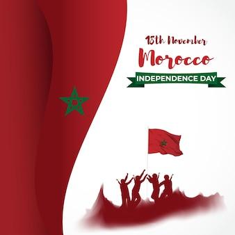 Illustration vectorielle de la fête de l'indépendance du maroc heureux