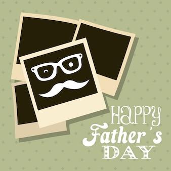 Illustration vectorielle de fête des pères carte style rétro