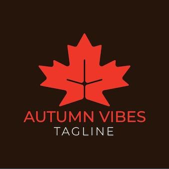Illustration vectorielle de feuille d'érable rouge minimale et inscription vibes d'automne sur fond noir