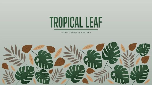 Illustration vectorielle de feuilles tropicales tissu modèle sans couture design moderne
