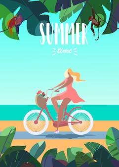 Illustration vectorielle de fille bronzée, heure d'été du vélo. mer, plage, animaux mignons sur ba