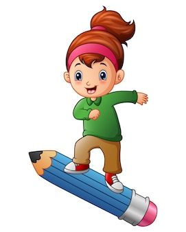 Illustration vectorielle de fille de dessin animé debout sur un crayon