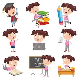 Illustration vectorielle de fille de dessin animé faisant diverses activités