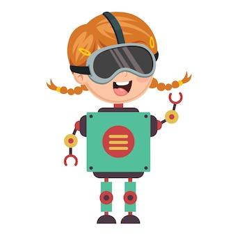 Illustration vectorielle de fille robotique