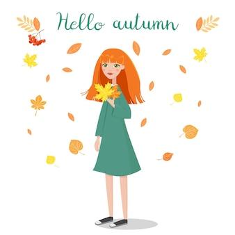 Illustration Vectorielle De Fille Tenant Des Feuilles D'automne Vecteur Premium