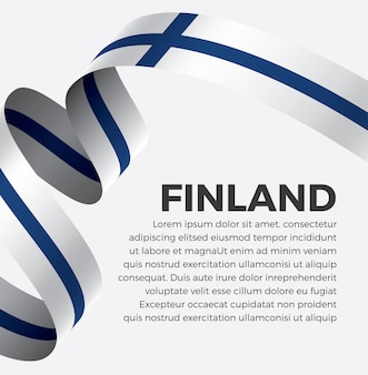 Illustration vectorielle de finlande ruban drapeau sur fond blanc vecteur premium