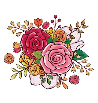 Illustration vectorielle de fleur bouquet