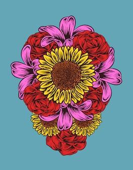 Illustration vectorielle de fleurs