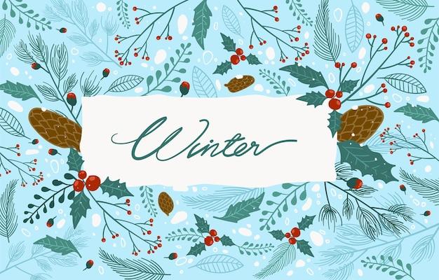 Illustration vectorielle floral winter frame and border