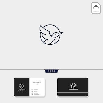 Illustration vectorielle de flying bird outline logo modèle et conception de carte de visite comprennent