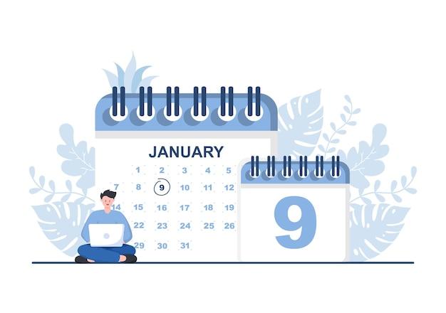 Illustration vectorielle de fond de calendrier avec signe de cercle pour la planification, la gestion du temps, l'organisation du travail et les événements de la vie ou les vacances