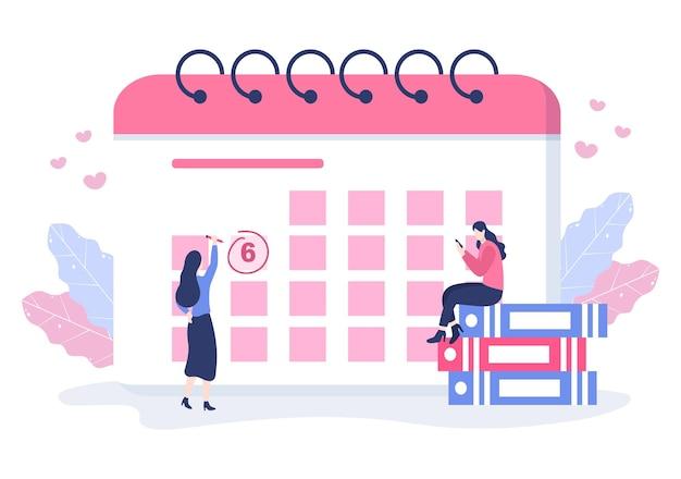 Illustration vectorielle de fond de calendrier avec signe de cercle pour la planification des questions importantes, la gestion du temps, l'organisation du travail et la notification des événements de la vie ou des vacances