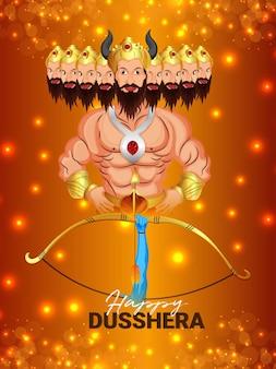 Illustration vectorielle de fond de dussehra heureux festival indien
