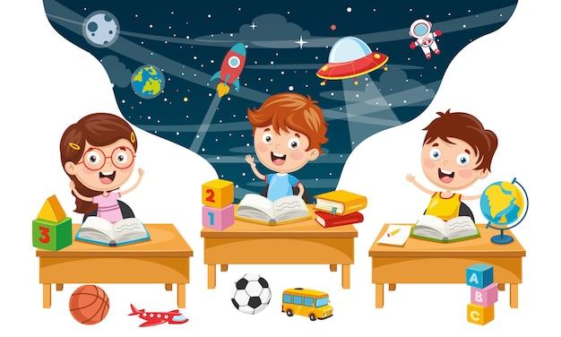 Illustration vectorielle de fond d'enfants étudiants