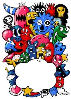 Illustration vectorielle de fond monstre mignon, dessin à la main