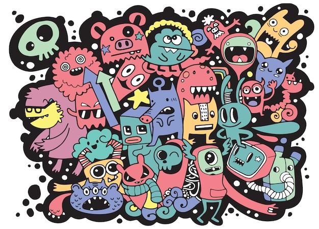 Illustration vectorielle de fond monstre mignon doodle, main dessiner