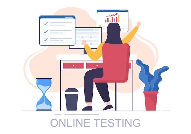 Illustration vectorielle de fond de test en ligne avec liste de contrôle, examen, choix de réponse, formulaire, concept d'apprentissage en ligne et d'éducation