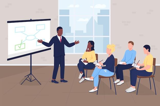 Illustration vectorielle de formation commerciale couleur plate. siège social. atelier professionnel. master class marketing. personnages de dessins animés 2d d'hommes d'affaires avec l'intérieur de l'entreprise sur fond