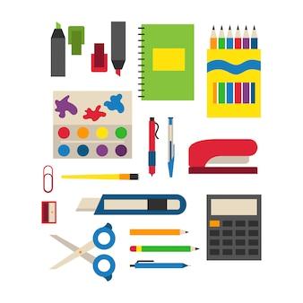 Illustration vectorielle de fournitures scolaires.