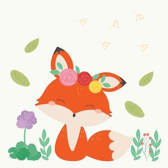 Illustration vectorielle de fox mignon. art dessiné à la main.