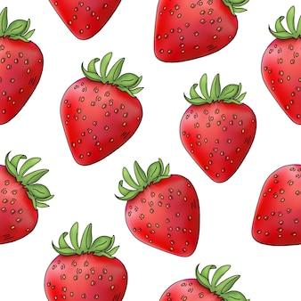 Illustration vectorielle de fraise berry dans le modèle sans couture de couleur rouge de style réalisme sur blanc