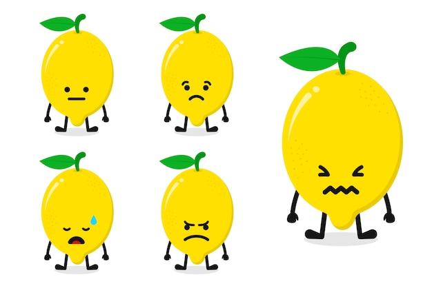 Illustration vectorielle de fruits citron caractère défini pour l'expression triste