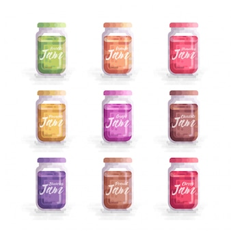 Illustration vectorielle de fruits confiture mason jar