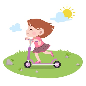 Illustration vectorielle de gam play ride scooter isolé