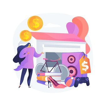 Illustration vectorielle de garage vente concept abstrait. marché aux puces, brocante, journée de vente de garage, vente de vêtements vintage, inventaire d'occasion, métaphore abstraite de la vente de fouille.