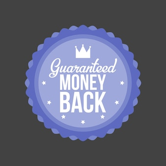 Illustration vectorielle de garantie de remboursement insigne bleu.