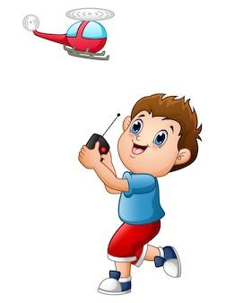 Illustration vectorielle de garçon de bande dessinée jouant avec quadcopter